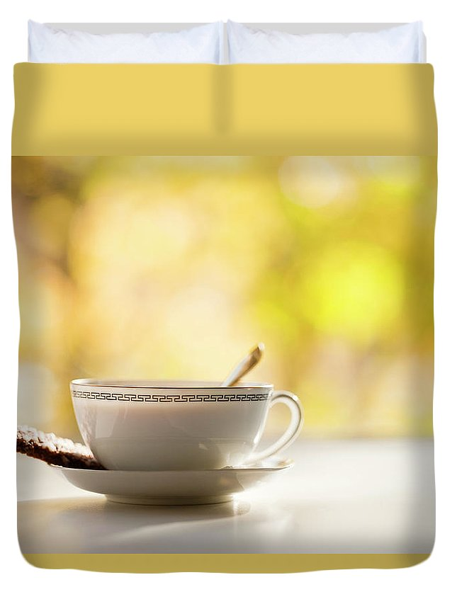 Food And Drink Duvet Cover featuring the photograph Coffee Cup With Cookie, Still Life by Johner Images