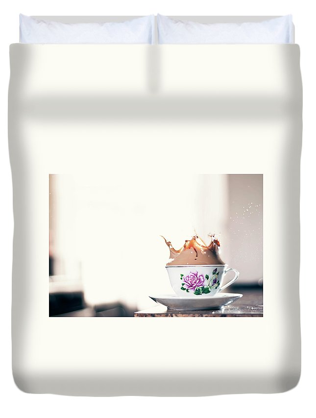 Motion Duvet Cover featuring the photograph Coffee Splash In Kitchen by Photographs By Vitaliy Piltser