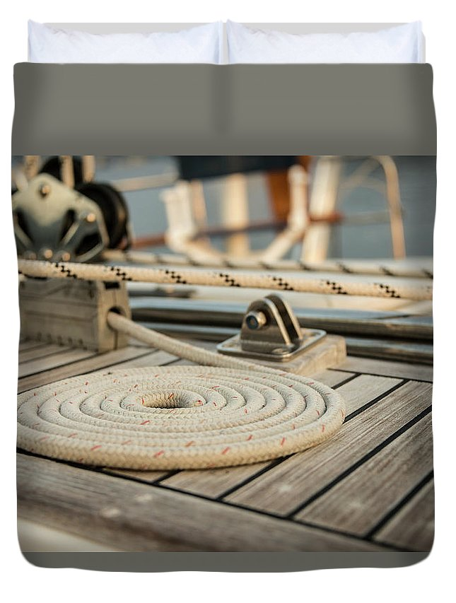 Sailboat Duvet Cover featuring the photograph Coiled Line, Rope, On Teak Deck Of 62 by Gary S Chapman