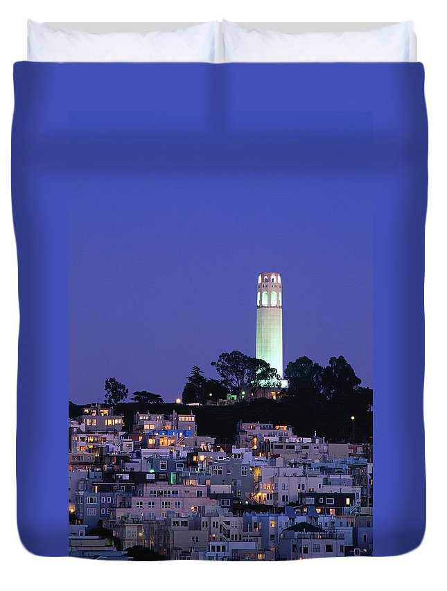 San Francisco Duvet Cover featuring the photograph Coit Tower, Telegraph Hill At Dusk, San by Thomas Winz