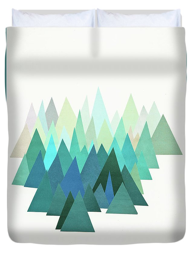 Mountains Duvet Cover featuring the mixed media Cold Mountain by Cassia Beck