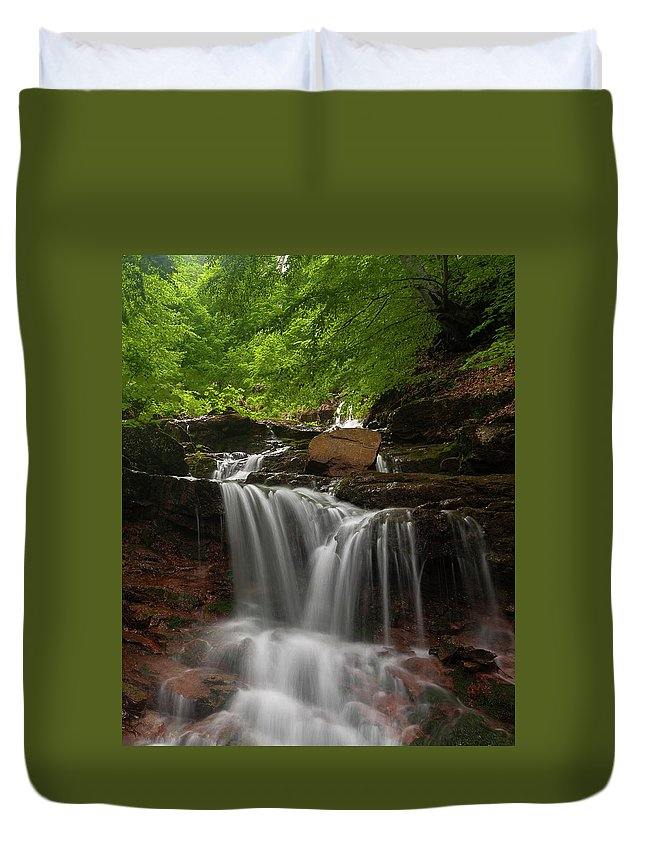 Rapid Duvet Cover featuring the photograph Cold River by Evgeni Dinev