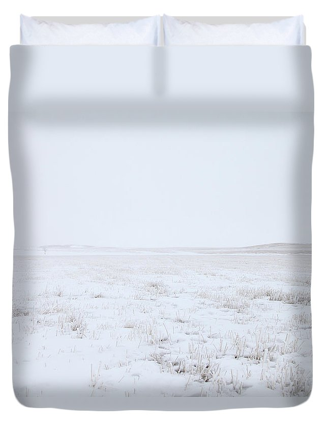 Tranquility Duvet Cover featuring the photograph Cold Winter Scene Of An Open Wheat Field by Lori Andrews