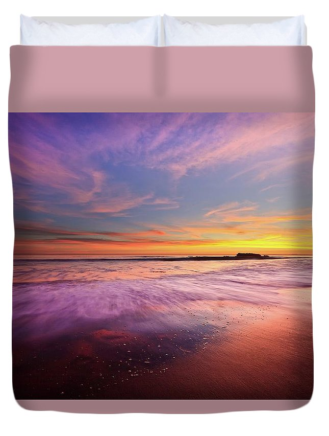 Scenics Duvet Cover featuring the photograph Color Splash At Sunset, Laguna Beach by Eric Lo