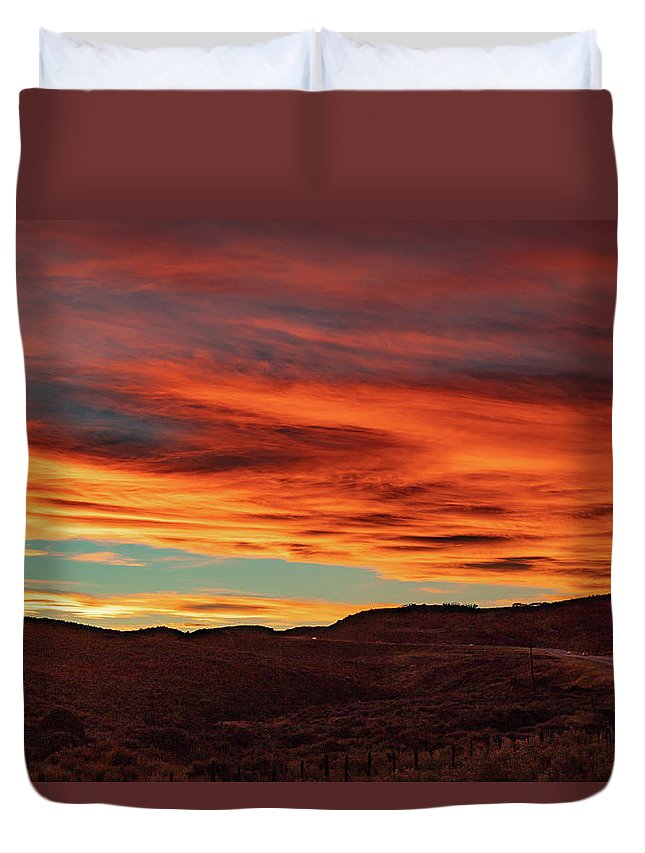 Fall Duvet Cover featuring the photograph Colorado Sunset by Jim Allsopp