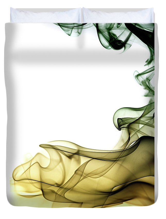 Curve Duvet Cover featuring the photograph Colored Smoke Swirls by Vasiliki