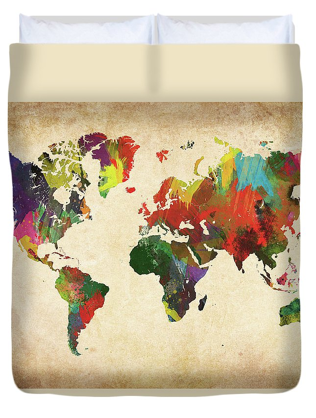 Art Duvet Cover featuring the photograph Colored World Map Xxxl by Sorendls