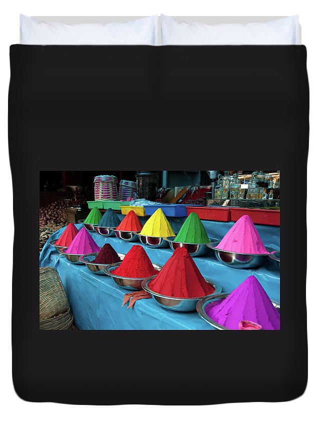 In A Row Duvet Cover featuring the photograph Colorful Dyes At Indian Market by Photo By Meredith Narrowe