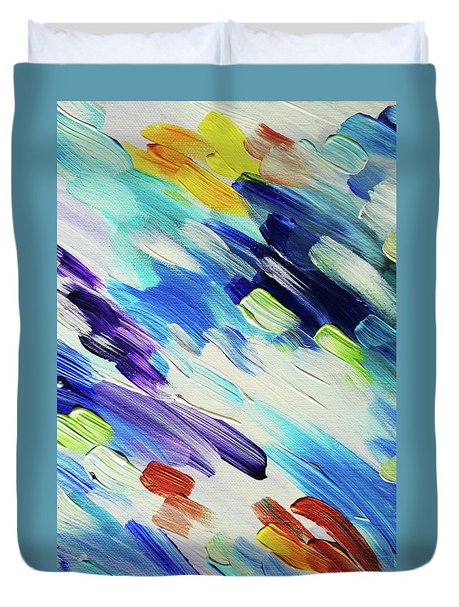 Jenny Rainbow Fine Art Photography Duvet Cover featuring the photograph Colorful Rain Fragment 6. Abstract Painting by Jenny Rainbow