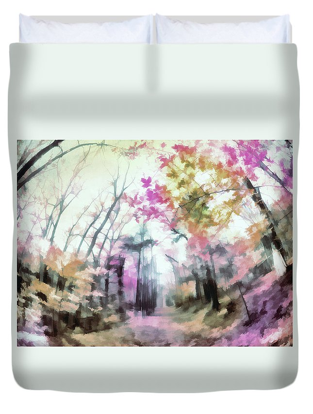 Duvet Cover featuring the digital art Colorful Trees Xiv by Tina Baxter