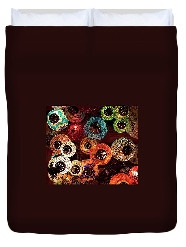 Antique Shop Duvet Cover featuring the photograph Colorful Turkish Lanterns From The by Wldavies