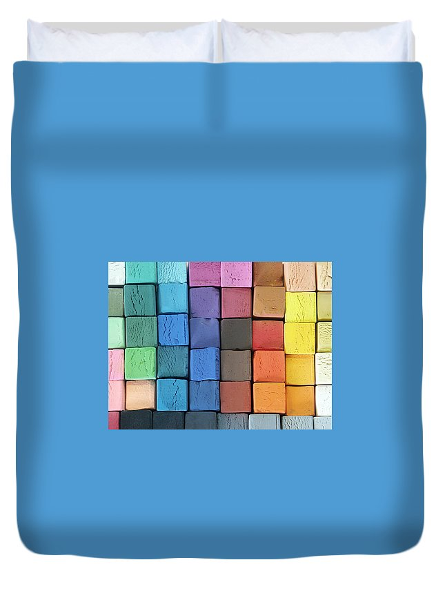 Block Shape Duvet Cover featuring the photograph Coloured Pastels by Mevans