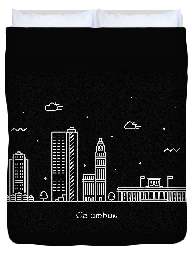 Columbus Duvet Cover featuring the drawing Columbus Skyline Travel Poster by Inspirowl Design