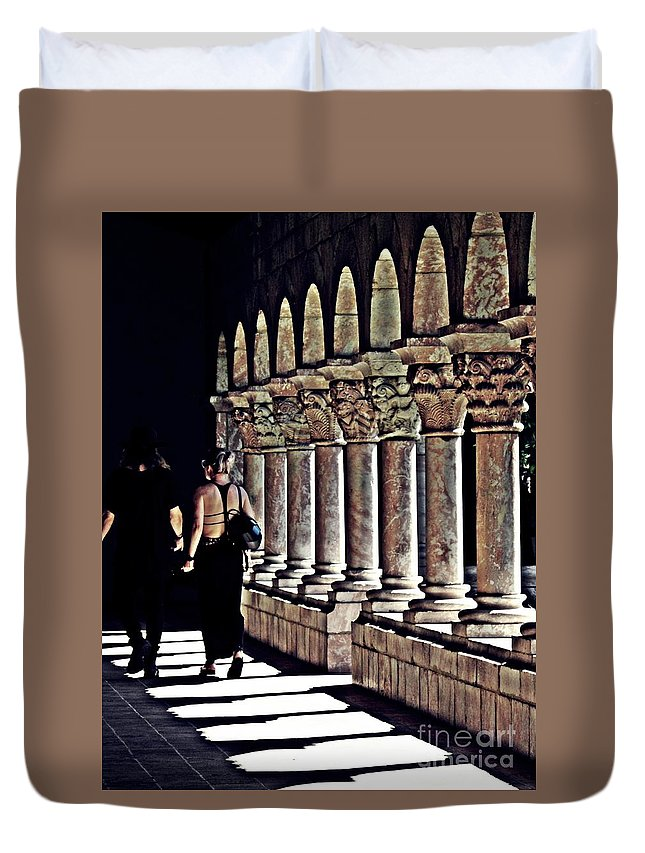 Building Duvet Cover featuring the photograph Columns At The Cloisters 2  by Sarah Loft