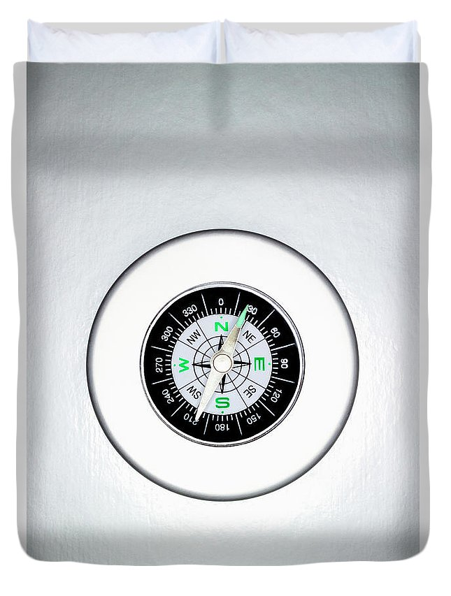 White Background Duvet Cover featuring the photograph Compass, Overhead View by Martin Poole