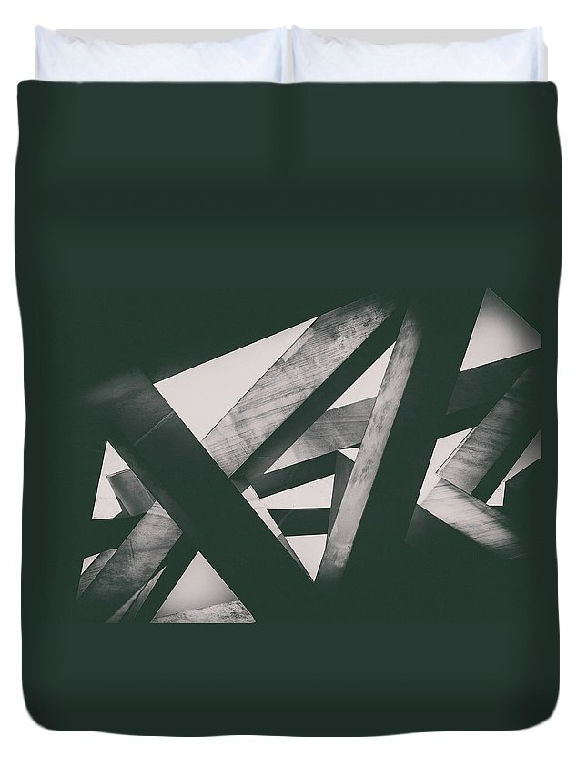 Shadow Duvet Cover featuring the photograph Concrete Pillars by Lordrunar