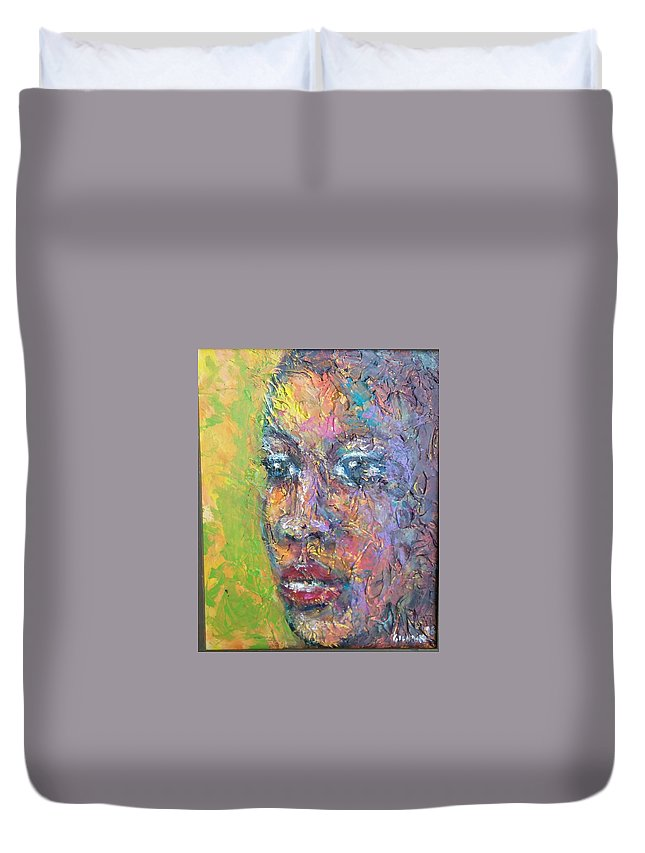 Duvet Cover featuring the painting Contemplation by Jan Gilmore