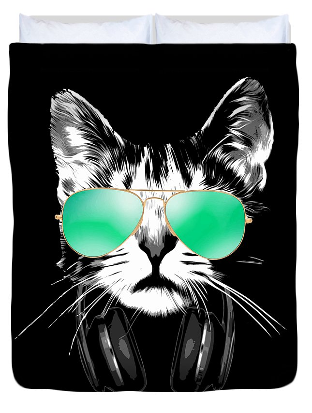 Cat Duvet Cover featuring the digital art Cool DJ Cat by Filip Schpindel