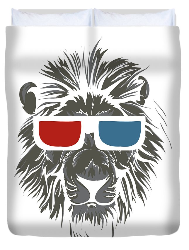 Cat Duvet Cover featuring the digital art Cool Lion In 3d Glasses by Passion Loft