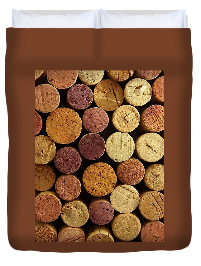 Wine Cork Duvet Cover featuring the photograph Cork Tops Background by Fotografiabasica