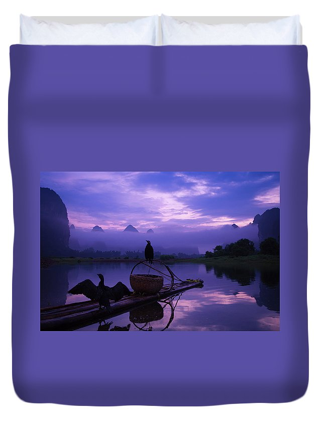 Chinese Culture Duvet Cover featuring the photograph Cormorant On Li River by Coffeeyu