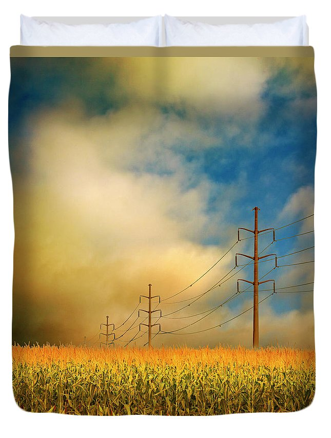 Electricity Pylon Duvet Cover featuring the photograph Corn Field At Sunrise by Photo By Jim Norris