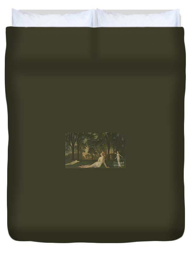 Nudes Duvet Cover featuring the painting Corridor Of Summer, 1910 by Arthur Bowen Davies