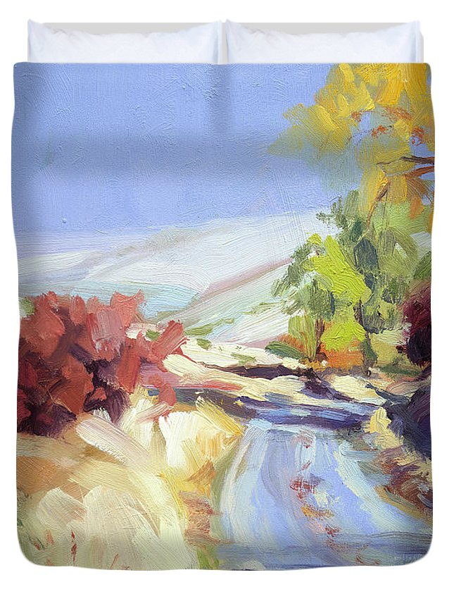 Country Duvet Cover featuring the painting Country Blue Sky by Steve Henderson