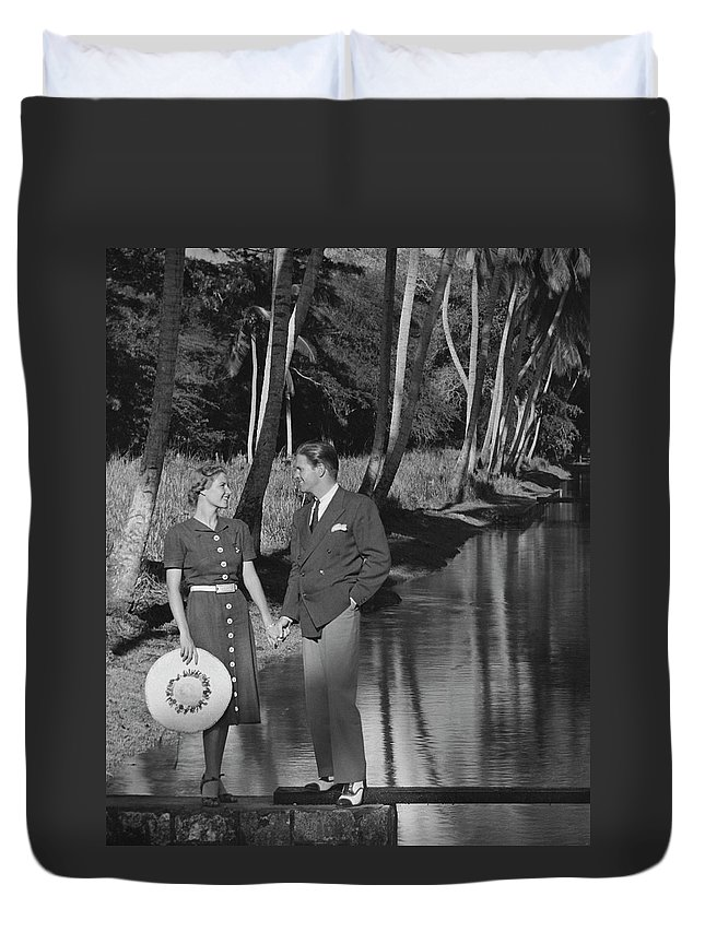 Heterosexual Couple Duvet Cover featuring the photograph Couple Outdoors by George Marks