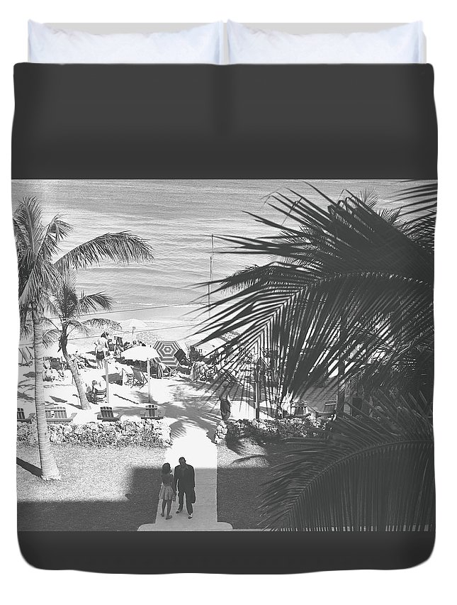 Heterosexual Couple Duvet Cover featuring the photograph Couple Walking In Path Towards Beach by George Marks