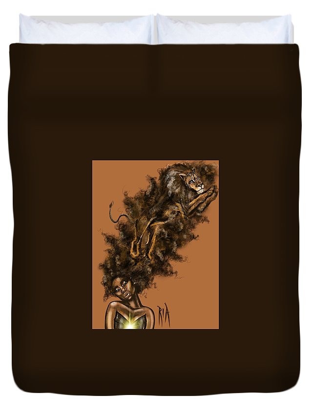 Lion Duvet Cover featuring the painting Courageous Me by Artist RiA