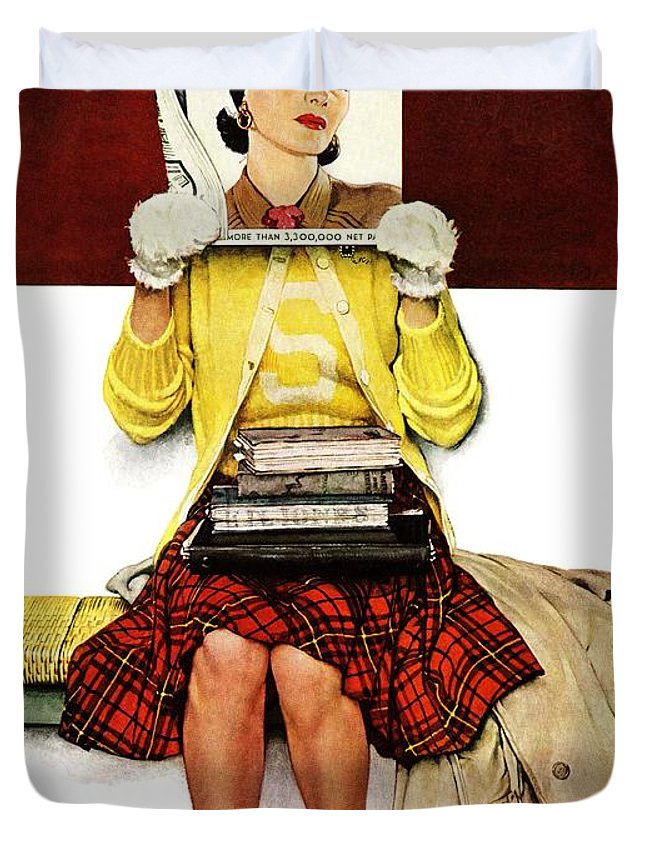 Covers Duvet Cover featuring the drawing Cover Girl by Norman Rockwell