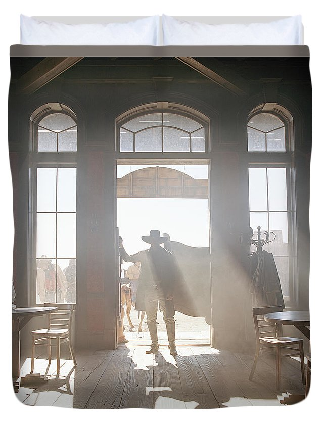 Shadow Duvet Cover featuring the photograph Cowboy At Saloon by Matthias Clamer