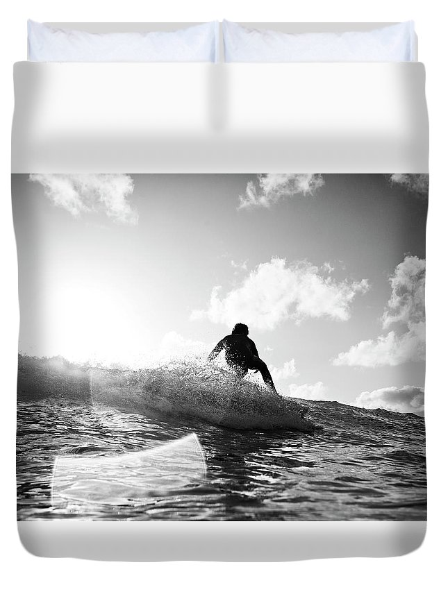 Three Quarter Length Duvet Cover featuring the photograph Crouching by Mark Leary