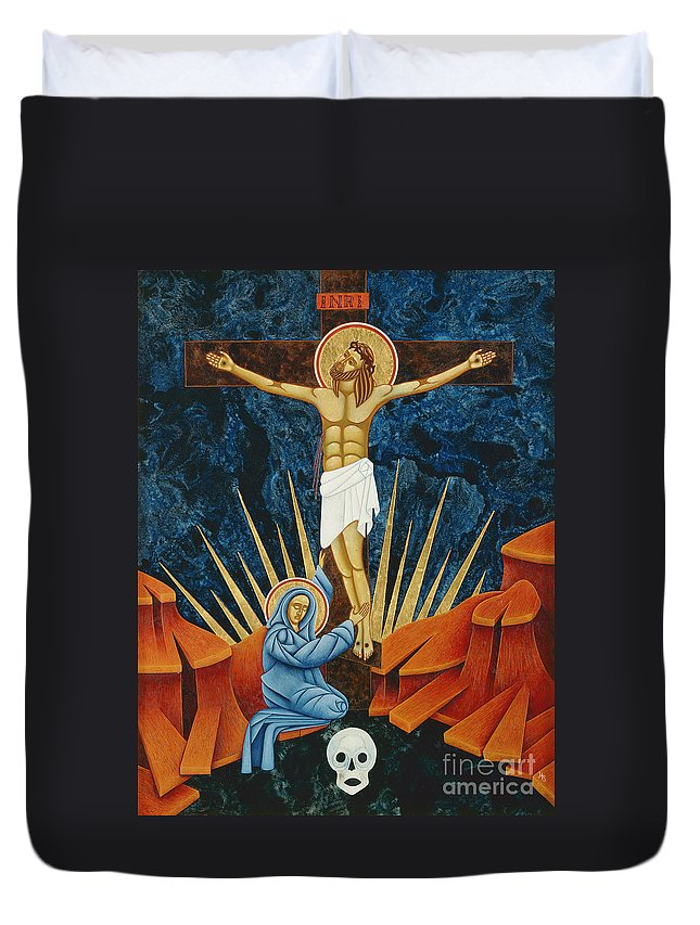 Crucifixion Duvet Cover featuring the painting Crucifixion By Jodi Simmons by Jodi Simmons