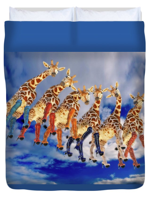 Surreal Duvet Cover featuring the digital art Curious Giraffes by Betsy Knapp