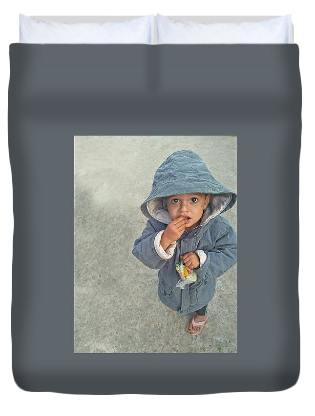 Cute Duvet Cover featuring the photograph Cute baby by Imran Khan