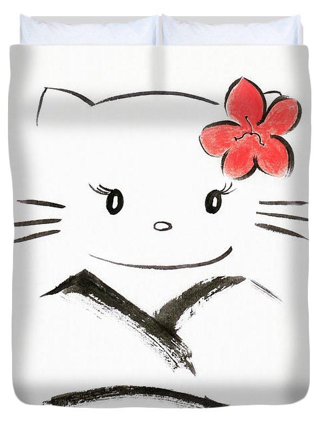 Cute Hello Kitty In A Kimono Kawaii Japanese Cartoon Cat Charact Duvet Cover For Sale By Awen Fine Art Prints