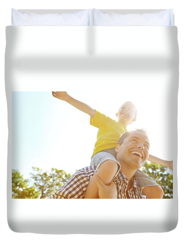 Human Arm Duvet Cover featuring the photograph Dad Makes Me Feel Like I Can Fly by Gradyreese