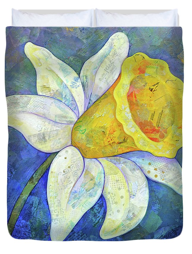 Daffodil Duvet Cover featuring the painting Daffodil Festival I by Shadia Derbyshire