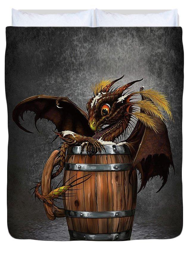 Dark Duvet Cover featuring the digital art Dark Beer Dragon by Stanley Morrison