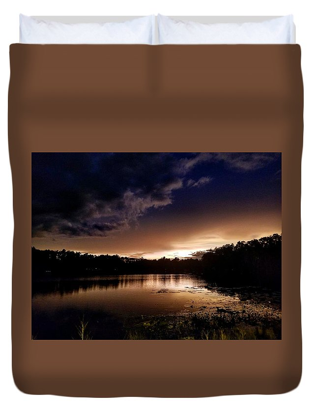 Sunset Duvet Cover featuring the photograph Dark Reflections by Shena Sanders