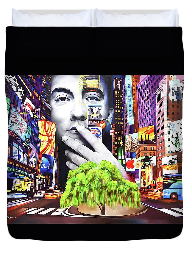 The Dave Matthews Band Duvet Cover featuring the painting Dave Matthews Dreaming Tree by Joshua Morton