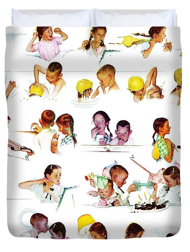 Birthdays Duvet Cover featuring the drawing Day In The Life Of A Girl by Norman Rockwell