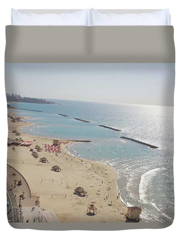 Tranquility Duvet Cover featuring the photograph Day View Of Tel Aviv Promenade And Beach by Barry Winiker