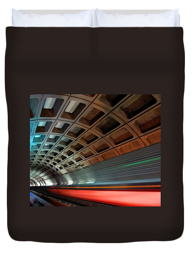 Ceiling Duvet Cover featuring the photograph Dc Subway by Patrick Yuen