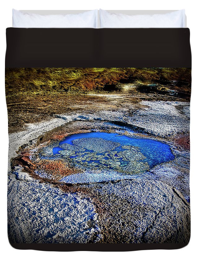 Tranquility Duvet Cover featuring the photograph Dead Sea Sink Holes by Photostock-israel