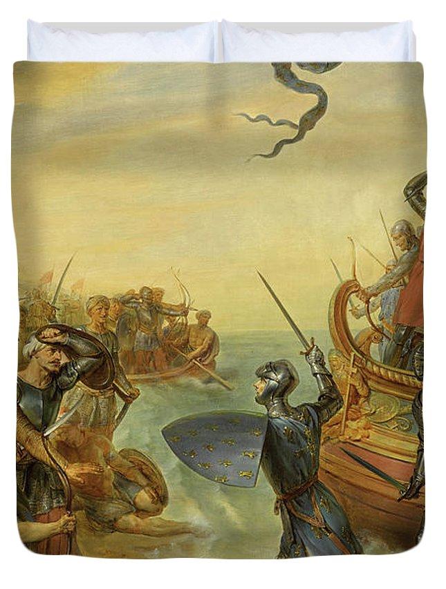 Siege Of Damietta Duvet Cover featuring the painting Debarquement De Saint-louis En Egypte, 1249 by Georges Rouget