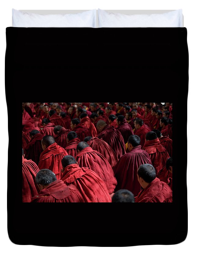Punishment Duvet Cover featuring the photograph Debating Monks by Caval