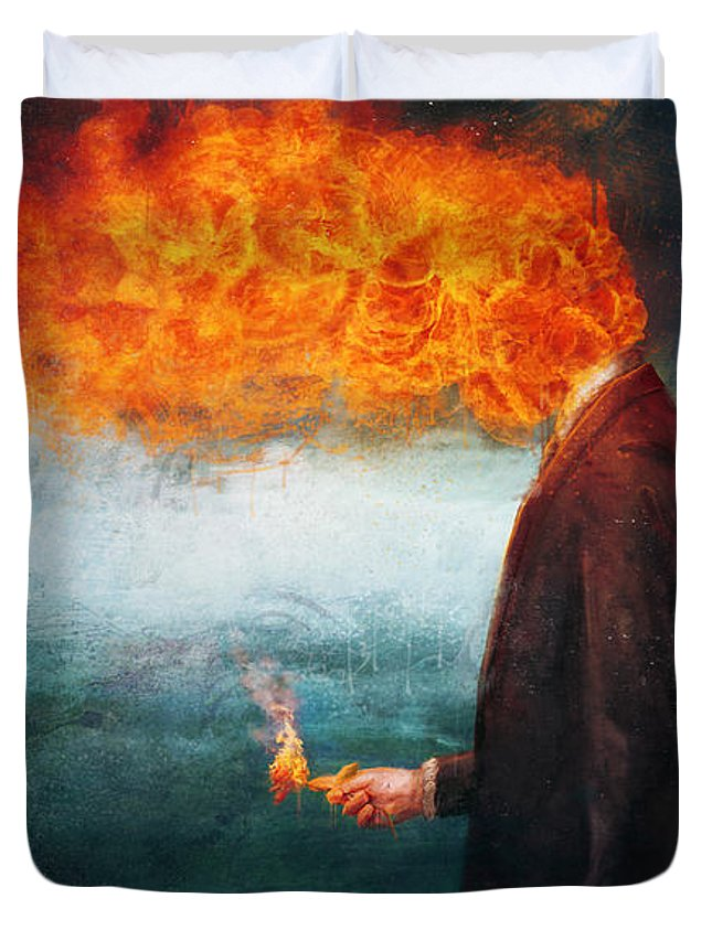Fire Duvet Cover featuring the painting Deep by Mario Sanchez Nevado